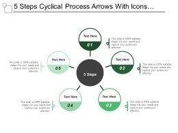 5 Steps Cyclical Process Arrows With Icons And Textboxes