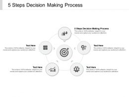 5 Steps Decision Making Process Ppt Powerpoint Presentation Inspiration Brochure Cpb