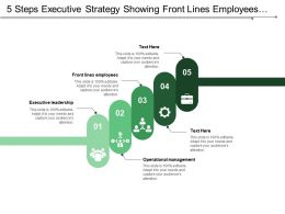 5 Steps Executive Strategy Showing Front Lines Employees Operational Management Leadership