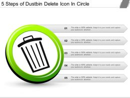 5 Steps Of Dustbin Delete Icon In Circle