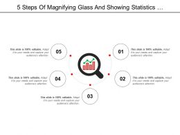 5 Steps Of Magnifying Glass And Showing Statistics Performance Icon