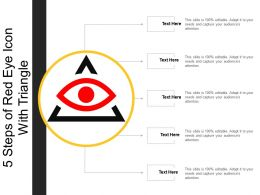 5 Steps Of Red Eye Icon With Triangle