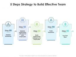 5 Steps Strategy To Build Effective Team