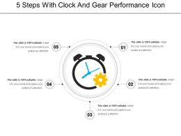 5 Steps With Clock And Gear Performance Icon
