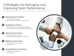 5 Strategies For Managing And Improving Team Performance