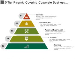 5 Tier Pyramid Covering Corporate Business Unit And Functional Departmental