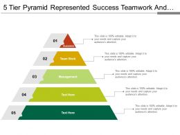 5 Tier Pyramid Represented Success Teamwork And Management