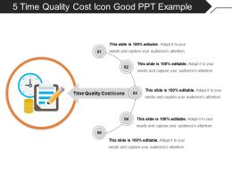 5 Time Quality Cost Icon Good Ppt Example