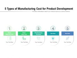 5 Types Of Manufacturing Cost For Product Development