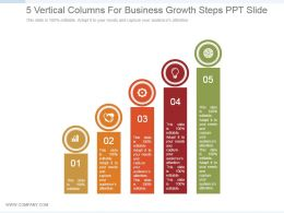 5 Vertical Columns For Business Growth Steps Ppt Slide