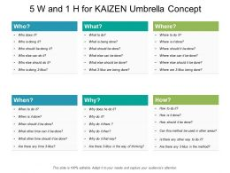 5 W And 1 H For Kaizen Umbrella Concept
