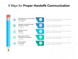 5 Ways For Proper Handoffs Communication