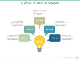5 Ways To Idea Generation Sample Ppt Presentation