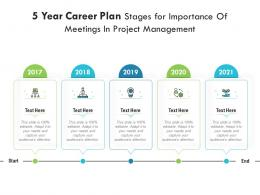 5 Year Career Plan Stages For Importance Of Meetings In Project Management Infographic Template