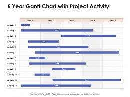 5 Year Gantt Chart With Project Activity Ppt Powerpoint Presentation Slides Elements