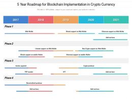 5 Year Roadmap For Blockchain Implementation In Crypto Currency