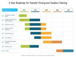 5 Year Roadmap For Transfer Pricing And Taxation Training