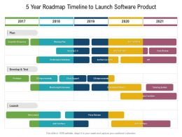 5 Year Roadmap Timeline To Launch Software Product