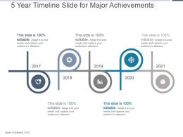 5 Year Timeline Slide For Major Achievements Powerpoint Ideas