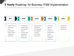 5 Yearly Roadmap For Business ITSM Implementation