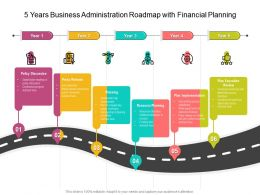 5 Years Business Administration Roadmap With Financial Planning