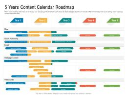 5 Years Content Calendar Roadmap Timeline Powerpoint Template