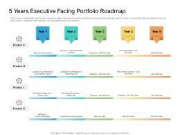 5 Years Executive Facing Portfolio Roadmap Timeline Powerpoint Template