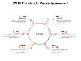 5W 1H Procedure For Process Improvement