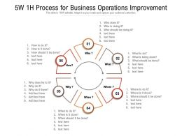 5W 1H Process For Business Operations Improvement