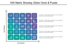 5x5 Matrix Showing Globe Clock And Puzzle