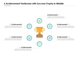 6 Achievement Textboxes With Success Trophy In Middle