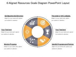 6 Aligned Resources Goals Diagram Powerpoint Layout