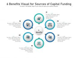 6 Benefits Visual For Sources Of Capital Funding Infographic Template