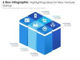 6 Box Infographic Highlighting Ideas For New Venture Startup