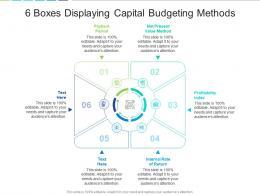 6 Boxes Displaying Capital Budgeting Methods