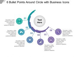 6 Bullet Points Around Circle With Business Icons