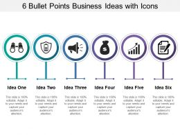 6 Bullet Points Business Ideas With Icons