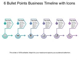 6 Bullet Points Business Timeline With Icons