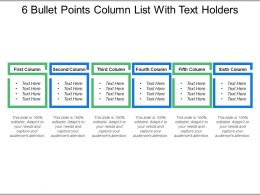 6 Bullet Points Column List With Text Holders