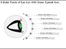 6 Bullet Points Of Eye Icon With Green Eyeball And Black Eyelashes