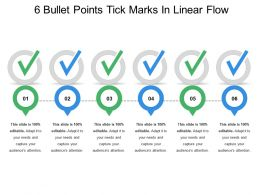 6 Bullet Points Tick Marks In Linear Flow