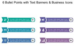 6 Bullet Points With Text Banners And Business Icons