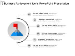 6 Business Achievement Icons PowerPoint Presentation