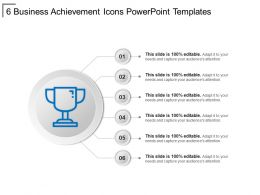 6 Business Achievement Icons Powerpoint Templates