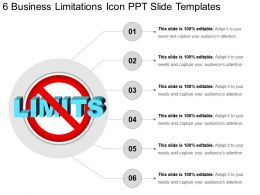 6 Business Limitations Icon Ppt Slide Templates