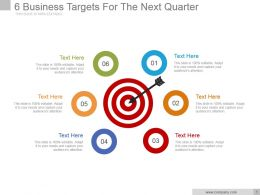 6 Business Targets For The Next Quarter Powerpoint Shapes
