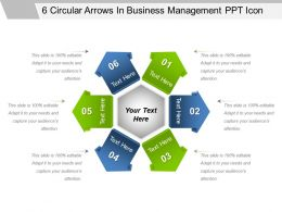 6 Circular Arrows In Business Management Ppt Icon