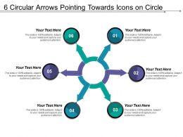 6 Circular Arrows Pointing Towards Icons On Circle