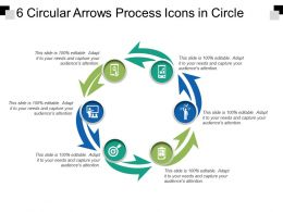 6 Circular Arrows Process Icons In Circle
