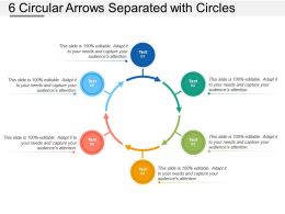 6 Circular Arrows Separated With Circles